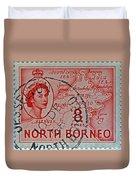 1954 North Borneo Stamp Duvet Cover