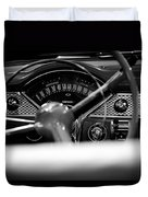 1955 Chevy Bel Air Dashboard In Black And White Duvet Cover by Sebastian Musial
