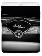 1955 Chevy Bel Air Glow Compartment In Black And White Duvet Cover by Sebastian Musial