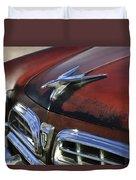 1955 Chrysler Windsor Deluxe Hood Ornament Duvet Cover