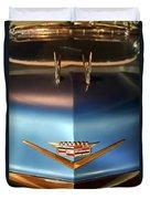 1956 Cadillac Eldorado Biarritz Convertible Hood Ornament And Emblem Duvet Cover