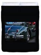 1956 Jaguar Xk 140 - Rear And Emblem Duvet Cover