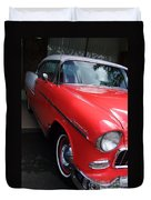 1956 Red And White Chevy Duvet Cover