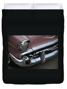 1957 Coral Chevy Bel Air Duvet Cover