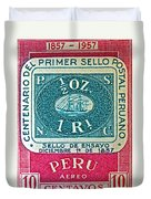 1957 Peru Ten Centavos Stamp Duvet Cover