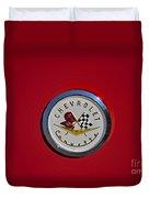1957 Red Corvette Emblem Duvet Cover