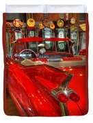 1959 Cadillac At The Pumps Duvet Cover