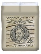 1959 Champion Of Liberty Stamp Duvet Cover