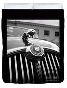 1963 Jaguar Front Grill In Balck And White Duvet Cover