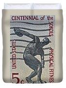 1965 Physical Fitness Stamp Duvet Cover