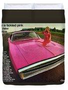1970 Dodge Charger Tickled Pink Duvet Cover