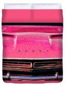 1971 Dodge Challenger - Pink Mopar Typography Duvet Cover