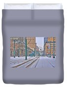 1st Real Snowfall Metro Rail 2012 Duvet Cover