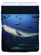 A Large 10 Foot Tiger Shark Swims Duvet Cover