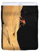 A Man Rock Climbing On El Capitan Duvet Cover