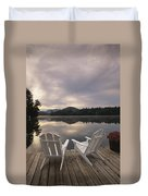 A Pair Of Adirondack Chairs On A Dock Duvet Cover