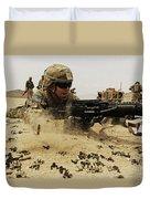 A Soldier Firing His Mk-48 Machine Gun Duvet Cover