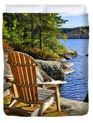 Adirondack Chairs At Lake Shore Duvet Cover