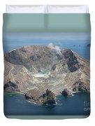Aerial View Of White Island Volcano Duvet Cover
