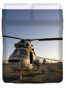 An Iraqi Helicopter Sits On The Flight Duvet Cover