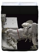 Astronaut Working On The International Duvet Cover