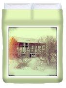 Barn In Snow Duvet Cover