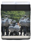 Belgian Infantry Soldiers Training Duvet Cover by Luc De Jaeger