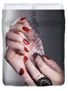 Black Sand Falling On Woman Hands Duvet Cover by Oleksiy Maksymenko