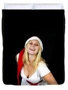 Blonde Woman With Santa Hat Duvet Cover
