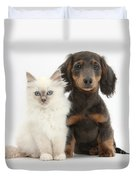 Blue-point Kitten & Dachshund Duvet Cover