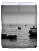 Boats Moored Off Of Leigh Essex Duvet Cover