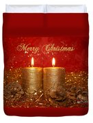 2 Candles Christmas Card Duvet Cover