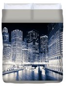 Chicago River Buildings At Night Duvet Cover