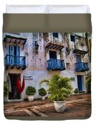 Colonial Buildings In Old Cartagena Colombia Duvet Cover