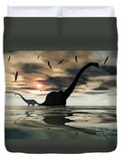 Diplodocus Dinosaurs Bathe In A Large Duvet Cover