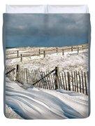 Drifting Snow Along The Beach Fences At Nauset Beach In Orleans  Duvet Cover