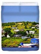 Fishing Village In Newfoundland Duvet Cover