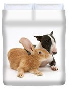 Flemish Giant Rabbit And Miniature Bull Duvet Cover