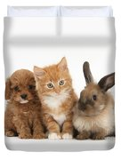 Ginger Kitten With Cavapoo Pup Duvet Cover