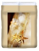 Golden Christmas Stars Duvet Cover
