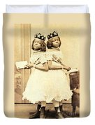 2 Headed Girl Millie-chrissie Duvet Cover by Photo Researchers