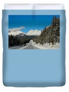 Highway In Winter Through Mountains Duvet Cover