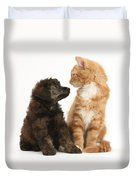 Kitten And Puppy Duvet Cover