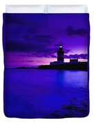 Lighthouse Beacon At Night Duvet Cover