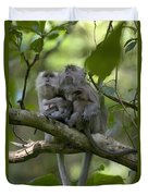 Long-tailed Macaque Macaca Fascicularis Duvet Cover by Cyril Ruoso
