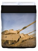 M1 Abrams Tanks At Camp Warhorse Duvet Cover