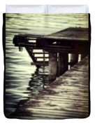 Old Wooden Pier With Stairs Into The Lake Duvet Cover