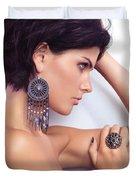 Portrait Of A Beautiful Woman Wearing Jewellery Duvet Cover