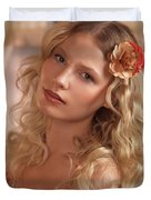 Portrait Of A Beautiful Young Woman Duvet Cover
