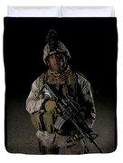 Portrait Of A U.s. Marine Duvet Cover